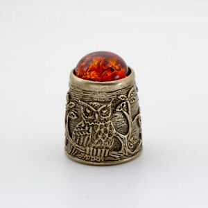 Thimble OWL on Forest Tree w/ BALTIC AMBER Solid Brass Metal Russian Souvenir