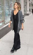 Celebrity Style 100% Cashmere Classic Gray charcoal chunky oversized cardigan M