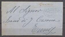 """1865 Lettre Malte pour Tunis, """"gratis"""" manuscrit + ovale bleu. Maritime. X1374"""