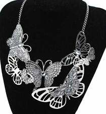 Women Butterfly Chain Pendant Crystal Bib Charm Choker Chunky Statement Necklace