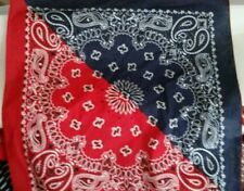 1 bandana two tone paisley  100% Cotton Made in USA Red White and Blue Fabric
