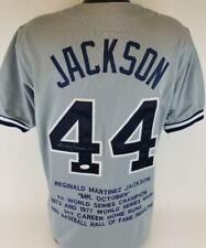 Reggie Jackson Signed New York Yankees Custom Stat Jersey JSA Witness COA