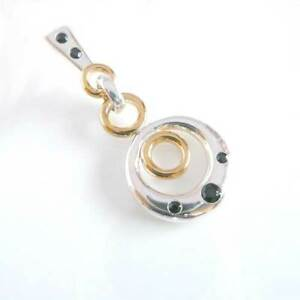 blaque Circles Sterling Silver Black Spinel Pendant 14ct Gold Plate