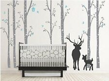 Deer with tree Bird Wall Decal Vinyl Forest Wall Sticker Decorative Home Decor