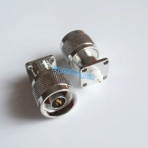 N male plug 4-hole 17.5mm flange solder panel mount cup deck RF Connector