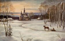 """Ölgemälde signiert von ukrainischen Maler """"Frostiger Abend"""" 36x56,  um 1980/90"""