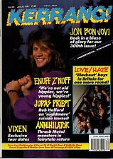 Jon Bon Jovi on Kerrang Cover 1990   Rush   Little Angels   Spread Eagle
