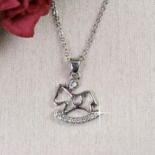 N10 Silver Plated Crystal Rocking Horse Necklace