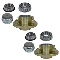 """Pair Of Trailer Cast Wheel Hub 4"""" PCD  1"""" Taper Bearing 4 Stud With Nuts And C"""