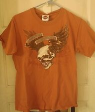 Harley Davidson T Shirt Small Winged Skull Rust Motorcylce Biker SOA MC
