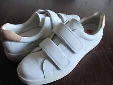 New CALVIN KLEIN Divine Women Leather White Sneakers Low Walking Shoes sz 10 M