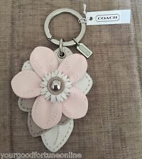 NWT Coach Leather Flower Charm Key Chain Ring Purse Bag Fob F 69956 White~Pink