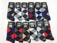 New 12 Pairs LORDS Mens Argyle Diamond Dress Socks Cotton Multi Color Size 10-13