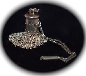 FABULOUS! Antique STERLING SILVER Chain Mesh Purse ACCORDION Top ELEPHANT Finial