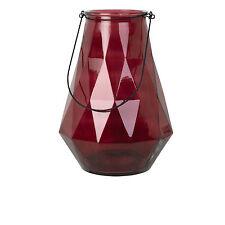 1x Windlicht Glas mit Henkel H37 Diamont L weinrot rot raute Broste Copenhagen