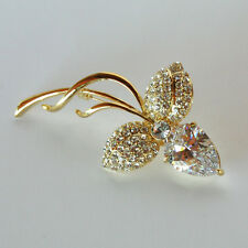 14k Gold plated rose flower brilliant crystals brooch pin with Swarovski element