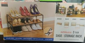 Seville Classics 2-Tier Iron Stackable Shoe Storage Rack In wood color