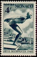 "MONACO STAMP TIMBRE N° 323 "" JEUX OLYMPIQUES 1948 LONDRES NATATION "" NEUF xx TTB"