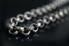 "26.5"" Diamond Rolo Classic Silver Chain Necklace for Harley 1% ER Biker TN100"