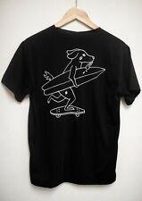 WECare black cotton t-shirt skateboarding cartoon dog unisex men's women's