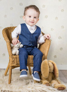 Baby Boys Navy Checker Outfit Smart Formal Suit Wedding Christening Baptism Set