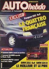 AUTO HEBDO  508  Monte Carlo - Dakar - 405 Mi16 4x4 - BMW 325i 4x4