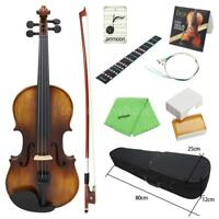 Vintage Matte Finished 4/4 Full Size Acoustic Violin Kit with Bow Hard Case W8G3