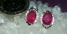 ❤ JAYNES GEMS  3CT GENUINE  AA RED RUBY  STUD EARRINGS