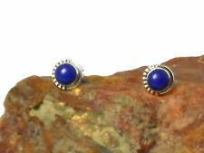 Round Blue LAPIS  Sterling  Silver  925  Gemstone  Earrings  -  5 mm