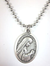 "St Gertrude the Great Medal Italy Necklace 24"" Ball Chain Gift Box Prayer Card"