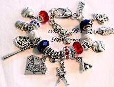 "Los Angeles Dodgers MLB Handmade Charm Bracelet 7"" plus 1 1/2"" Extender"