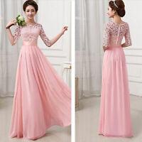 Women Lace Boho Long Maxi Evening Party Dress Chiffon Cocktail Dress Gown