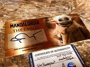 Mandalorian The Child John Rosengrant Signed 3x7 Plaque, Stand And COA