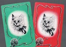 Playing Swap Cards  2  VINT  CATS / KITTENS       KNITTING   KITTEN   PAIR  W254
