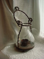 Bubble Glass Candle Lantern Brown Metal Hanging Garden Light