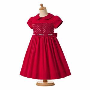 Spanish Girls Smocked Dress Christmas Party Short Sleeve Peter Pan Collar US
