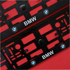 NEW 2x BMW BLACK NUMBER PLATE SURROUNDS HOLDER FRAME FOR BMW CARS