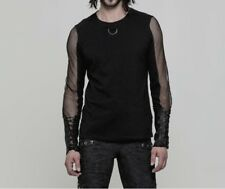 Punk Rave Men's Gothic Rock Metal Transparent Arms Longsleeve T-Shirt Top