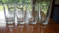Heavy Clear Glass Tumblers glasses Square Bottom Band Vertical Lines 4 14oz