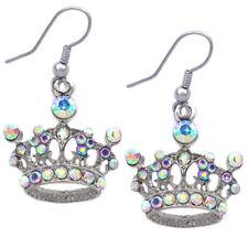 Aurora Borealis Princess Crown Tiara Dangle Charm Hook Earrings Girl Jewelry