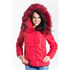 blouson manteau doudoune courte rouge fourré capuche fausse fourure S 36