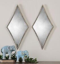 Textured Silver Diamond Mirror Pair | Contemporary Modern Set