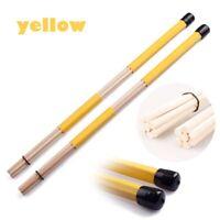 7 Dowels Pro Hot Rods Drum Stick Wooden Drumsticks Anti-slip Rubber Grisp Yellow