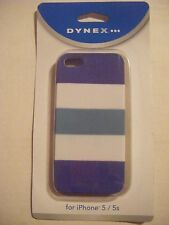 DYNEX BLUE WHITE TEAL striped Apple iPhone 5/ 5S case NEW NIB fitted hard cover