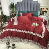 Luxury Silky Washed Silk Cotton Bedding Set Lace Duvet Cover Bed Sheet/Linen
