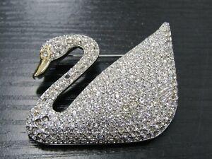 Vintage Swarovski Rhodium Plated Crystal Pave Swan Brooch Pin