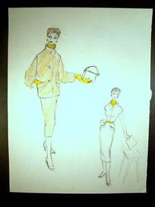 Lady Yellow Fashion 1946-59 Original Colored Pencil Sketch By C. Schattauer Kelm