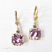 La Vie Parisienne Catherine Popesco 14K GP Square Crystal Earrings Vintage Pink