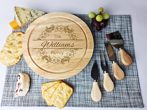 Personalised Cheese Serving Board Round, Christmas Gift, Wedding Gift,
