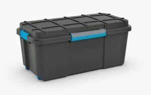 Scuba L Black 80 Ltr Water Resistant Mobile Plastic Trunk Damp Area Storage Box
